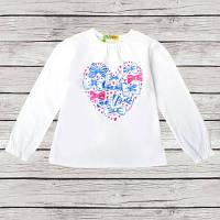 """Джемпер для девочки """"Heart"""" белый, размер 92, 98, 104, 110"""