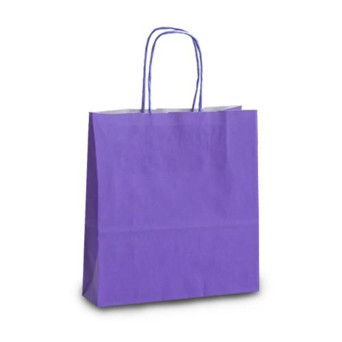 Крафт-пакет 18х08х20 фиолетовый с витыми ручками