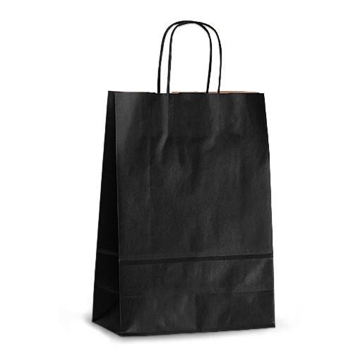Крафт-пакет 23х10х32 черный с витыми ручками