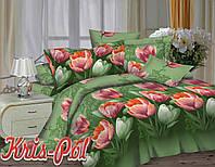"""Двуспальный комплект постельного белья """"Тюльпаны""""."""