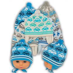ОПТ Вязаная шапка на завязках, для мальчика, Ku294 (5шт/упаковка)