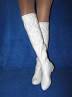 Белые демисезонные сапоги нарядные высокие и низкие на низком ходу 35-40