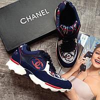 Женской синие темные кроссовки Chanel кросовки кожаные 37 размер