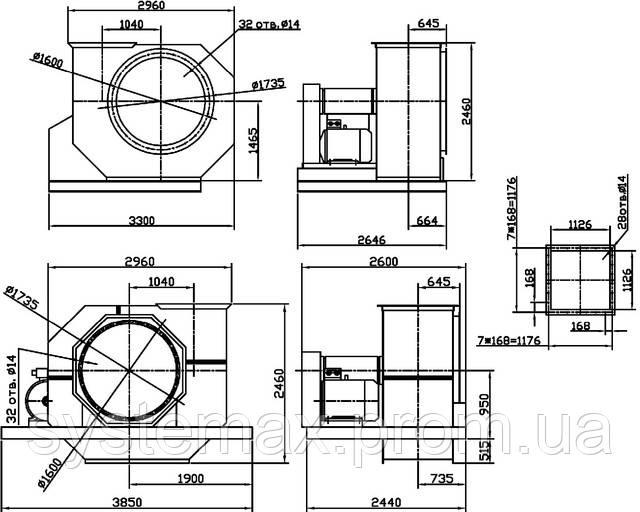Габаритные и присоединительные размеры центробежного вентилятора ВЦ 4-75 №16