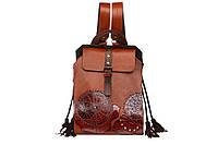 Коричневый кожаный рюкзак с тиснением от украинского производителя