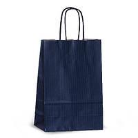 Крафт-пакет 18х08х25 синий с витыми ручками