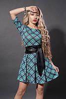 Бирюзовое короткое пышное платье с поясом в клетку. Размеры: 40,44,46,48