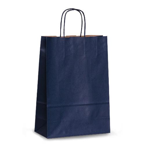 Крафт-пакет 23х10х32 синий с витыми ручками
