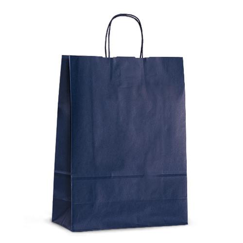 Крафт-пакет 32х13х42,5 синий с витыми ручками