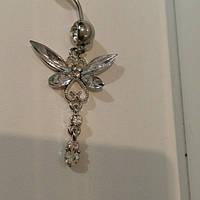 Украшение для пирсинга пупка бабочка белая