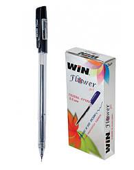 Ручка гелевая, 0.6мм, черн., FLOWER, WIN