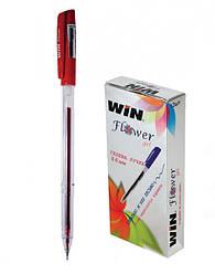 Ручка гелевая, 0.6мм, красн., FLOWER, WIN