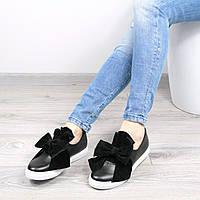 Слипоны мокасины женские Бант черные , кеды женские осенняя обувь