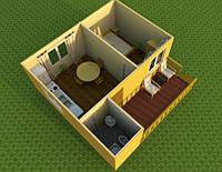 Эконом предложение.Дачный домик 6м х 6м с террассой