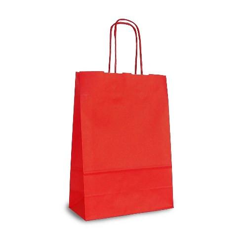 Крафт-пакет 18х08х25 красный с витыми ручками