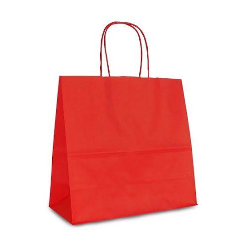 Крафт-пакет 25x11x24 красный с витыми ручками