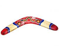 Бумеранг деревянный двухсторонний красный