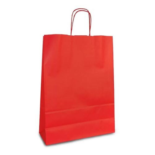 Крафт-пакет 32х13х28 красный с витыми ручками