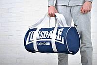 Сумка Lonsdale Barrel Bag синяя белый лого / Lonsdale