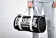 Сумка Lonsdale Barrel Bag черная белый лого  /Lonsdale
