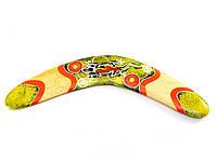 Бумеранг деревянный расписной желтый