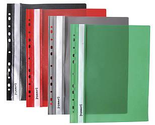 Папка-скоросшиватель, с прозр. верхом А4, Format, с перф, зелёная