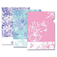 Папка-уголок пластиковая, А4,SK-310LF L'inspiration des Fleurs, ассорти, непрозрачная, 3 дизайна