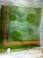 Шейный шифоновый платок размер 62 см цвет  оливковый в белую полоску
