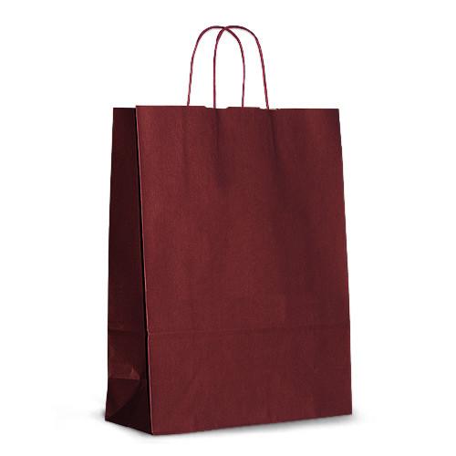 Крафт-пакет 32х13х42,5 бордовый с витыми ручками