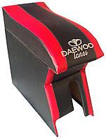 Подлокотник Daewoo Lanos, Sens (Деу Ланос, Сенс) Люкс черный с красным с вышивкой