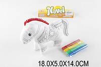 Раскраска xq824 (1329893) Лошадка + фломастеры в пакете 18*5*14см