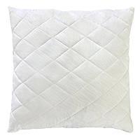Белая стеганая подушка из силиконового волокна на замке 70х70