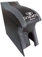 Подлокотник Daewoo Lanos, Sens (Деу Ланос, Сенс) Люкс черный с серым с вышивкой
