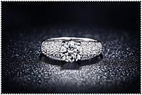 Кольцо Стерлинговое серебро Золушка камни Swarovski, фото 1
