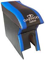 Подлокотник Daewoo Lanos, Sens (Деу Ланос, Сенс) Люкс черный с синим с вышивкой