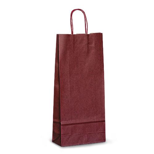 Пакет 18x08x40 бордовый под две бутылки для вина
