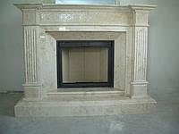 Мраморный резной каминный портал из бежевого мрамора Крема Маре