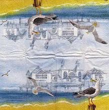 Салфетка декупажная Чайки на берегу 3036