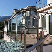 Перила алюминиевые квадратные со стеклом, фото 2