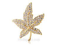 Брошь «Священный кленовый лист», кристаллы сваровски, позолота, купить