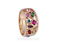 Кольцо «Веселые приключения», кристаллы, золотое напыление, купить, фото 1