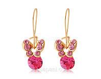 Сережки «Розовые бабочки» с кристаллами Сваровски, купить