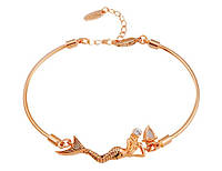 Оригинальный браслет «Морская дива» с покрытием золотом 750 пробы, Кристаллы Сваровски, купить