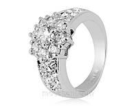 Кольцо «Чистый кристалл» с покрытием белым золотом 750 пробы, купить