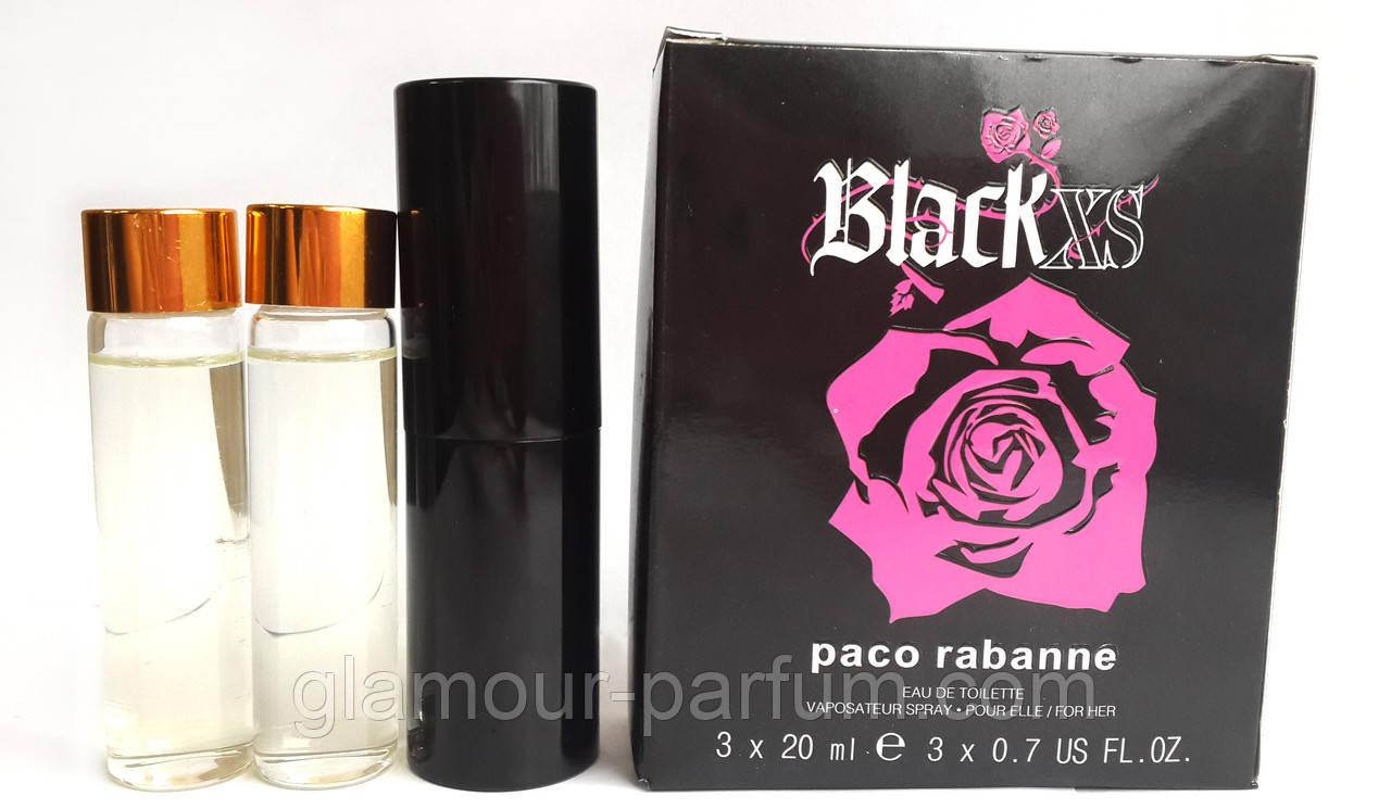 Мини парфюм Paco Rabanne Black XS For Her (Блэк XS Фо Хе) + 2 запаски, 3*20 мл.