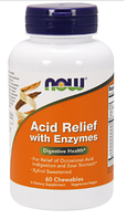 Ацид Релиф, Now Foods, Acid Relief with enzymes, 60 chewables