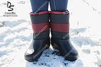 Женские зимние сапоги бордовые ( Код : Снежинка)