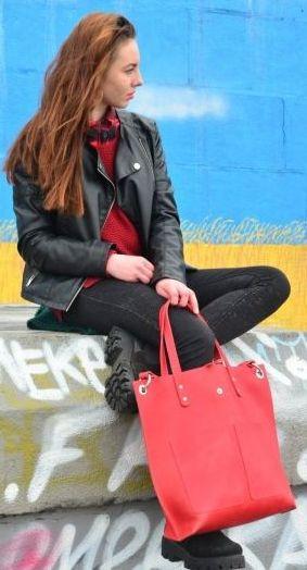 Женская яркая кожаная сумка Tote Babak 857078