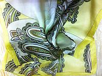 Шейный платок натуральный шелк цвет желтый