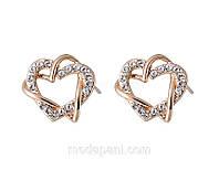 Серьги «Символ любви» a форме сердечек с кристаллами Сваровски, купить